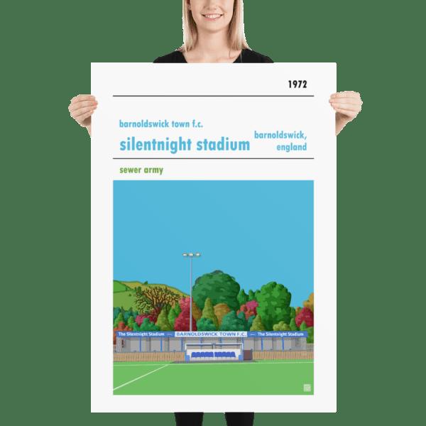 Massive football poster of Barnoldswick Town FC and Silentnight Stadium