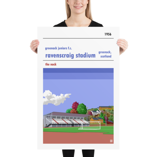 Huge football poster of Greenock Juniors FC and Ravenscraig Stadium