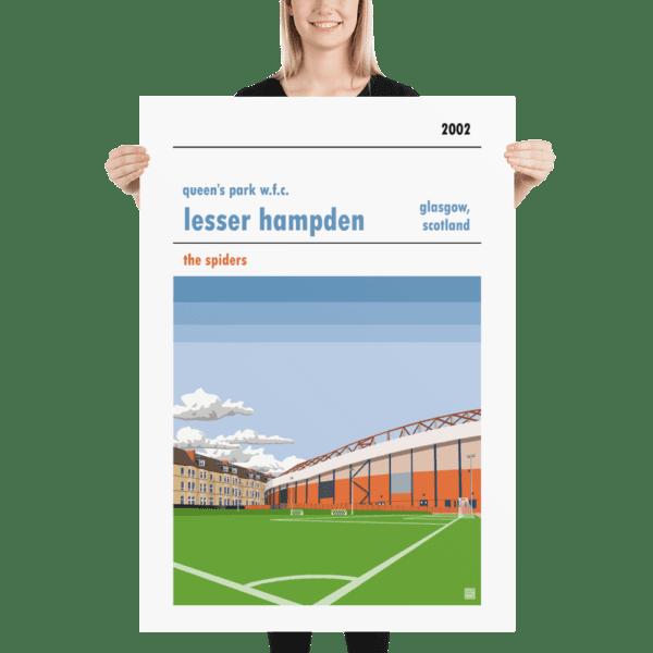 Massive football poster of Queen's Park WFC and Lesser Hampden