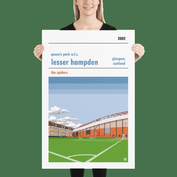 Huge football poster of Queen's Park WFC and Lesser Hampden