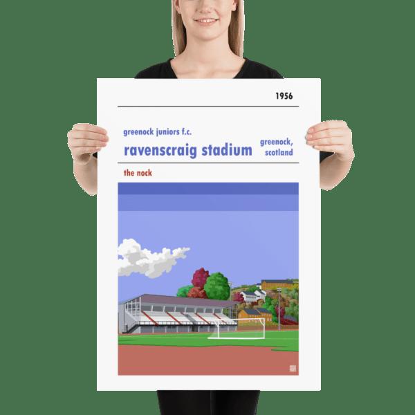Large football poster of Greenock Juniors FC and Ravenscraig Stadium