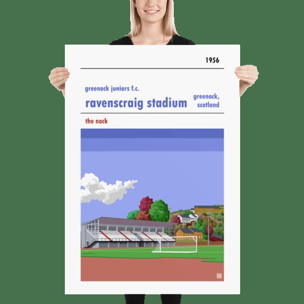 Massive football poster of Greenock Juniors FC and Ravenscraig Stadium
