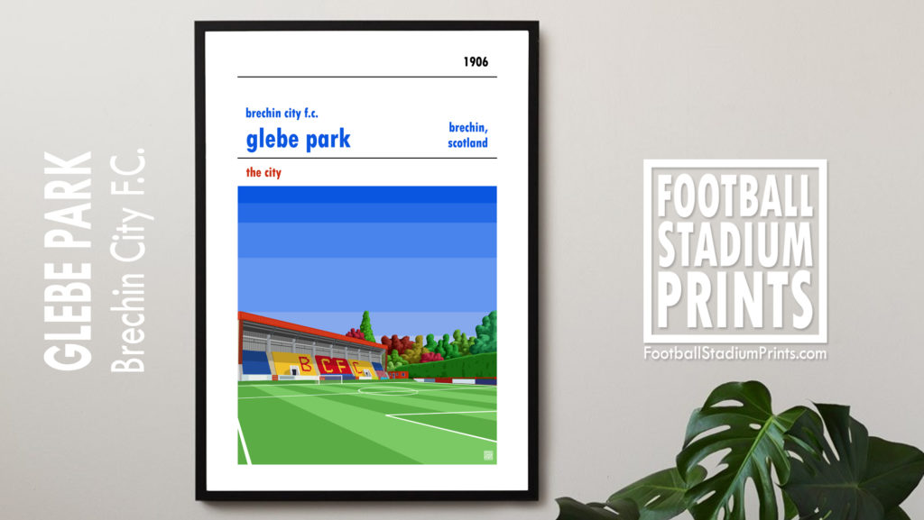 Framed football print of Brechin City FC and Glebe Park