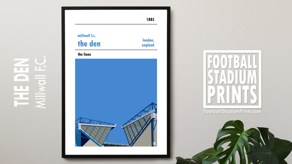 Framed Football print of Millwall and the Den