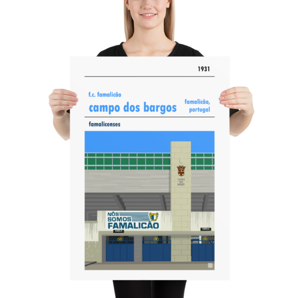 Large football poster of F.C. Famalicão and Campo dos Bargos