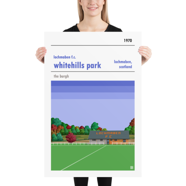 Huge football poster of Lochmaben FC and Whitehills Park
