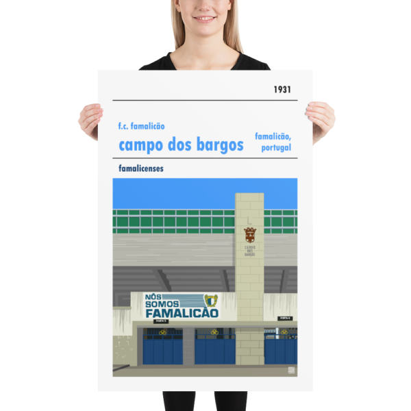 Huge football poster of F.C. Famalicão and Campo dos Bargos