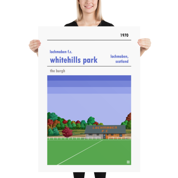 Massive football poster of Lochmaben FC and Whitehills Park