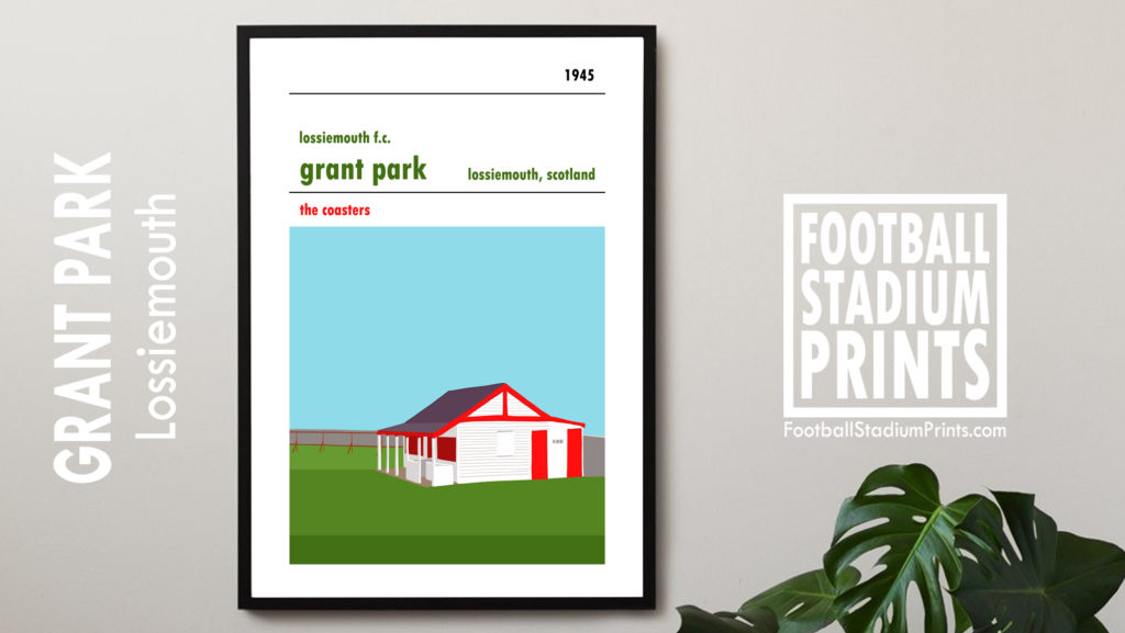 Framed hanging football print of Lossiemouth FC and Grant Park