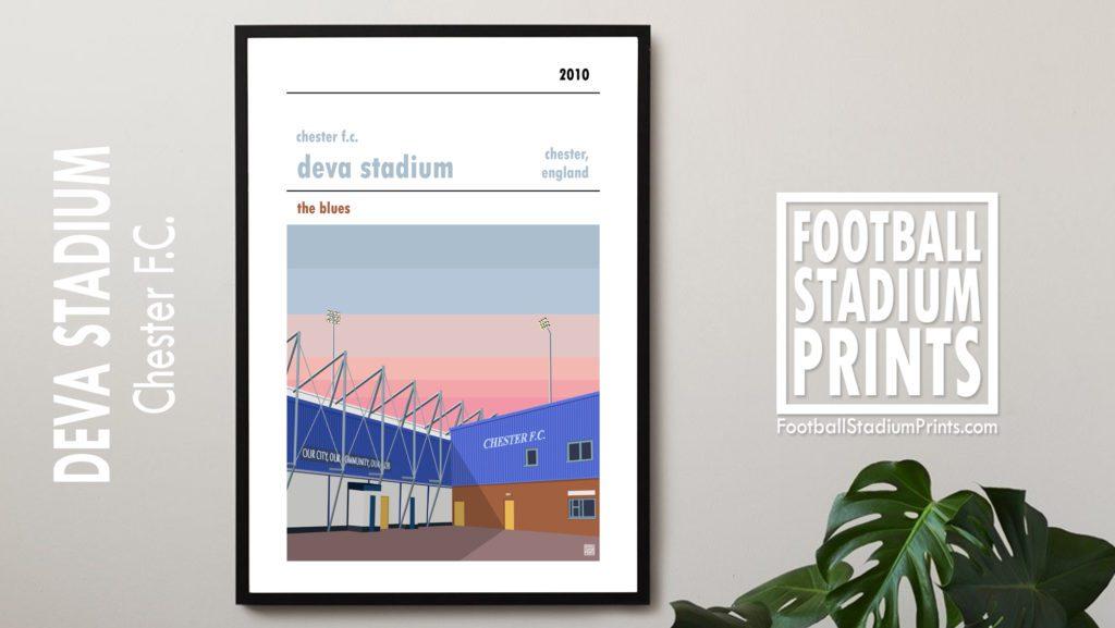 Framed Football print of Chester FC and Deva Stadium
