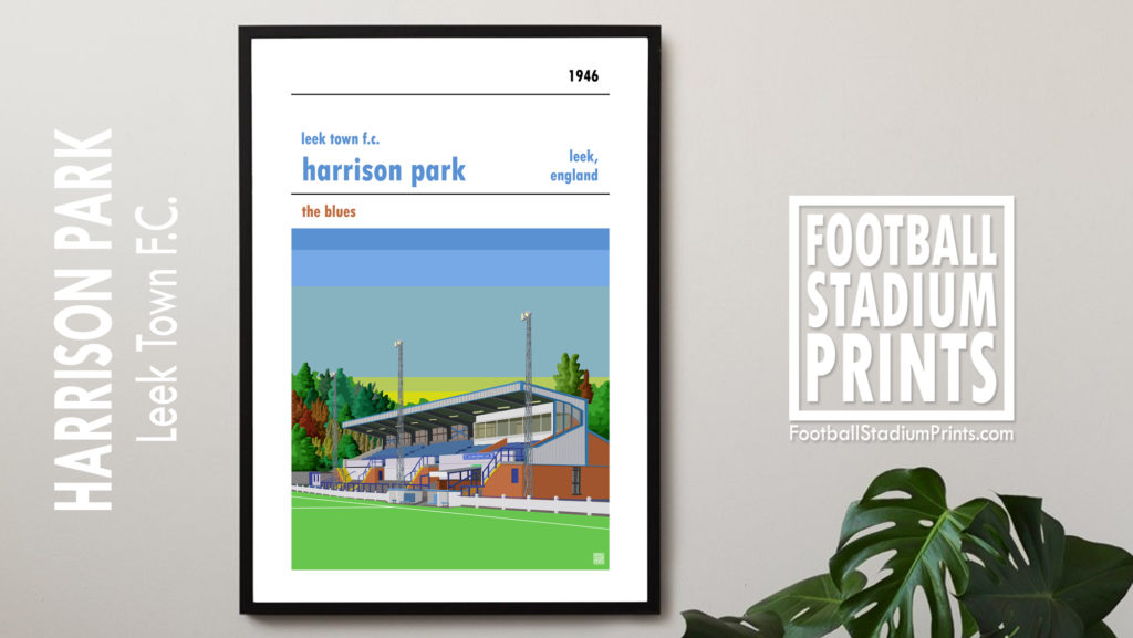 Framed Football Print of Leek Town and Harrison Park