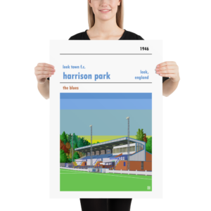 Large sunset football poster of Leek Town and Harrison Park