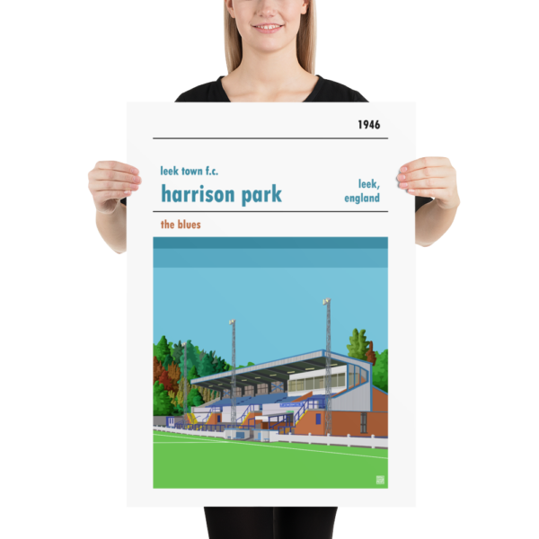 Large football poster of Leek Town and Harrison Park