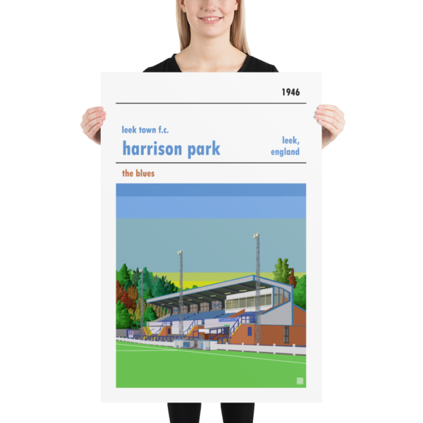 Huge sunset football poster of Leek Town and Harrison Park