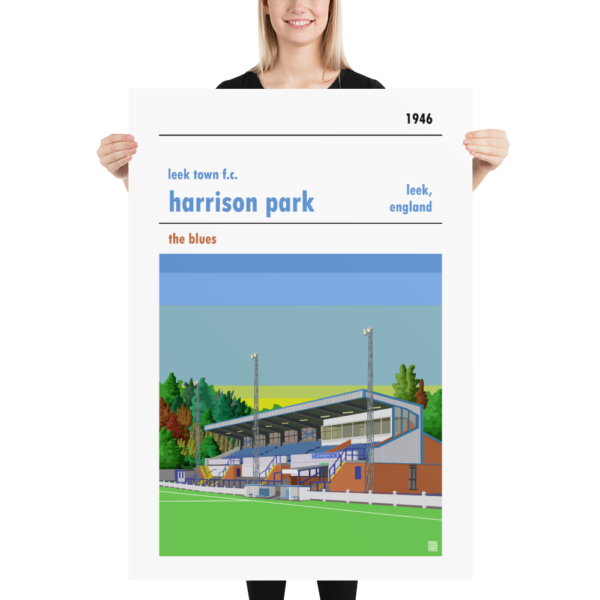 Massive sunset football poster of Leek Town and Harrison Park