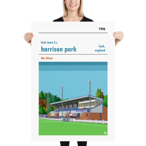 Massive football poster of Leek Town and Harrison Park