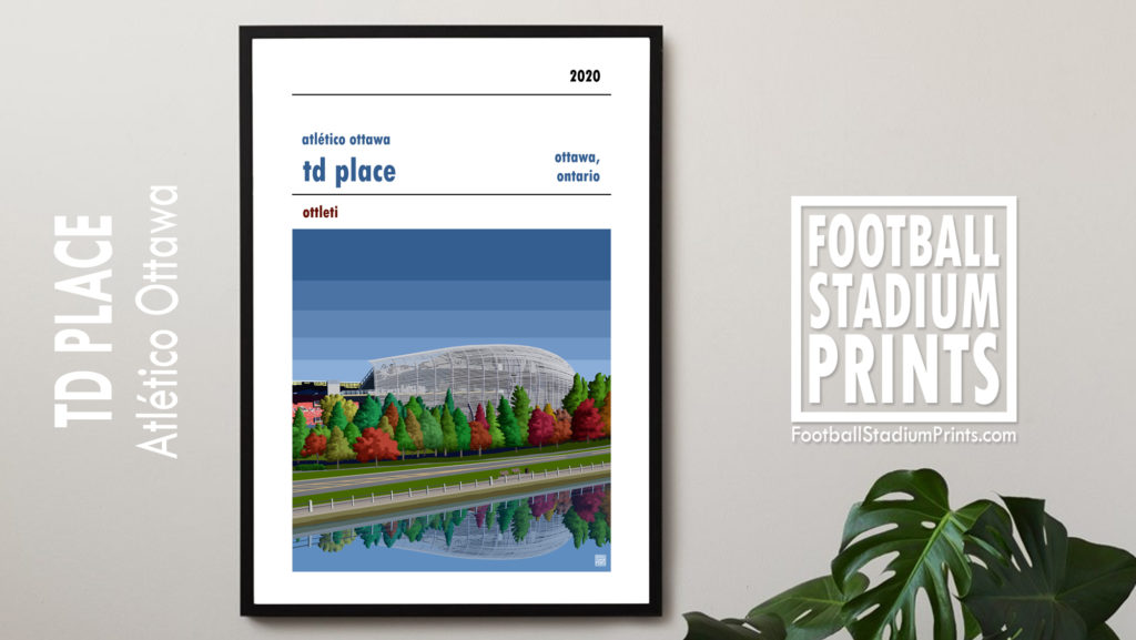 Framed football print of Atlético Ottawa and TD Place