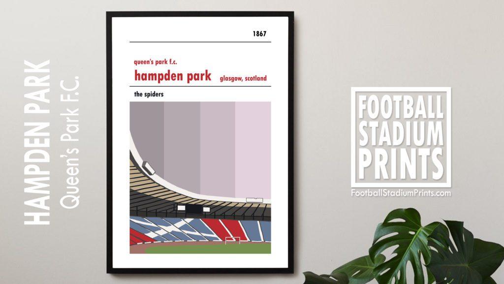 Framed football print of Queen's Park and Hampden