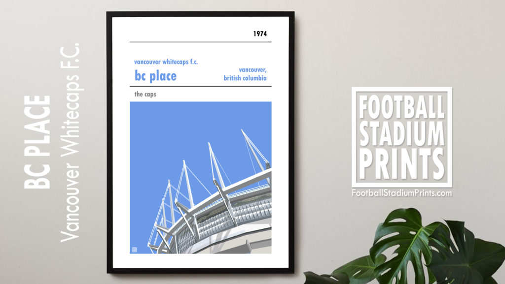 Framed football print of Vancouver Whitecaps and BC Place
