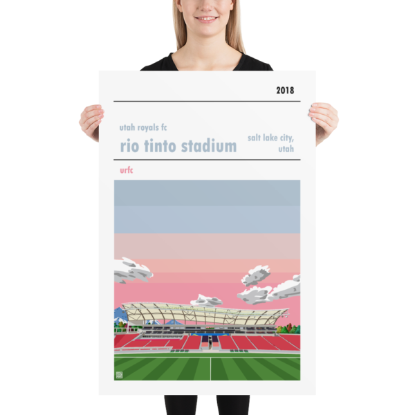 A huge football poster of the Utah Royals FC and Rio Tinto Stadium