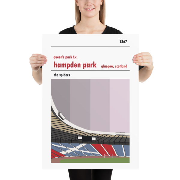A large football poster of Hampden Park and Queen's Park FC