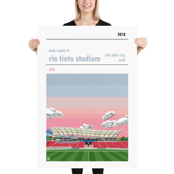 A massive football poster of the Utah Royals FC and Rio Tinto Stadium