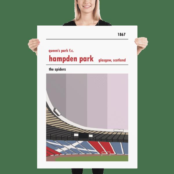 A massive football poster of Hampden Park and Queen's Park FC
