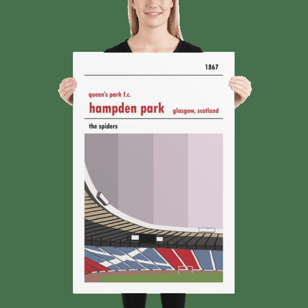 A huge football poster of Hampden Park and Queen's Park FC