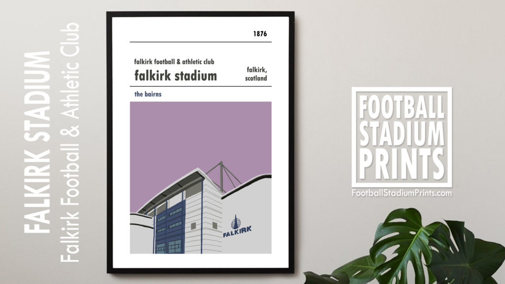 Framed football print of Falkirk Stadium and Falkirk FC