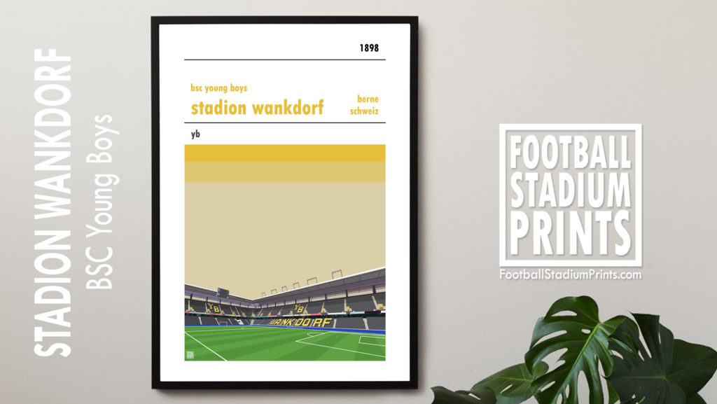 Framed football print of BSC Young Boys and Stadion Wankdorf