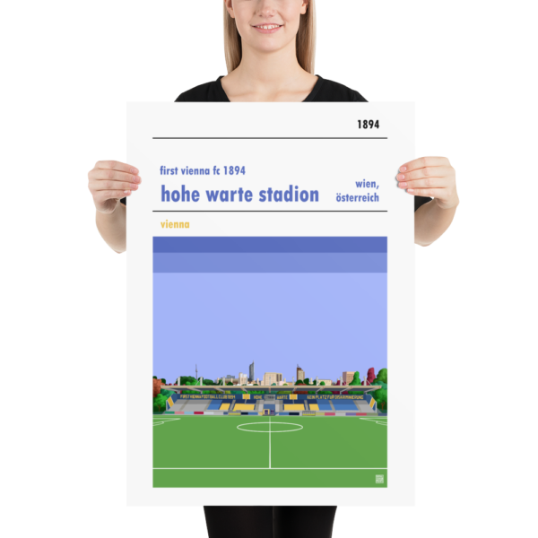 Large football poster of First Vienna FC and Hohe Warte Stadion