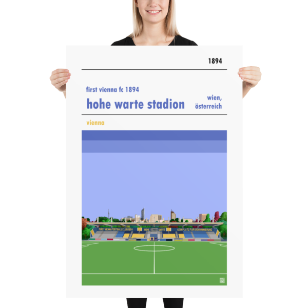 Massive football poster of First Vienna FC and Hohe Warte Stadion