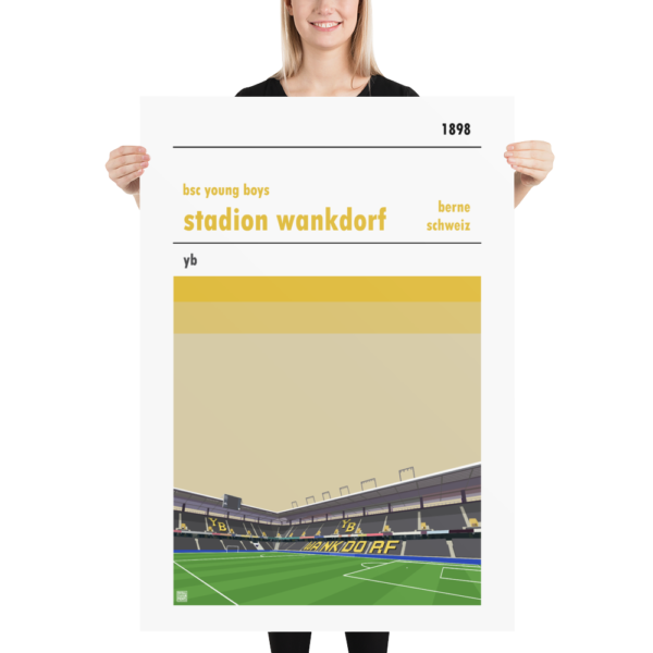 Massive football poster of BSC Young Boys and the Wankdorf Stadion