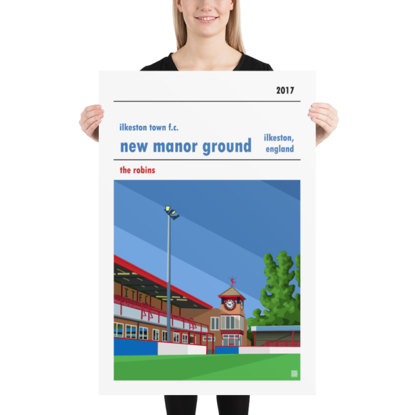 Huge football poster of New Manor Ground and Ilkeston Town FC