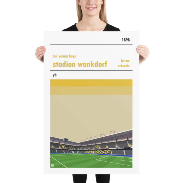 Huge football poster of BSC Young Boys and the Wankdorf Stadion