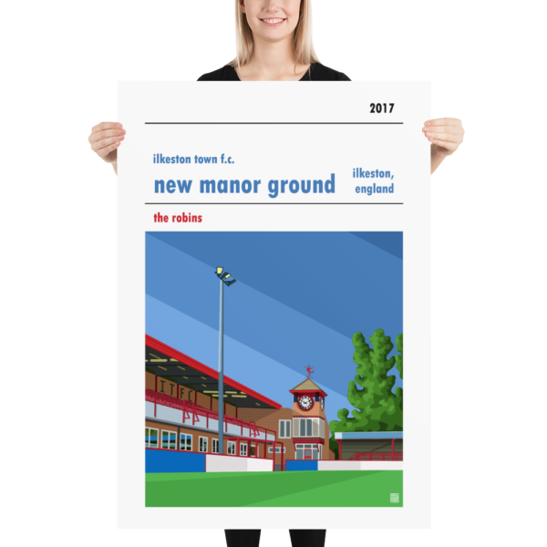 Massive football poster of New Manor Ground and Ilkeston Town FC