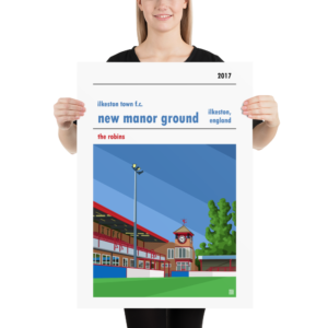 Large football poster of New Manor Ground and Ilkeston Town FC