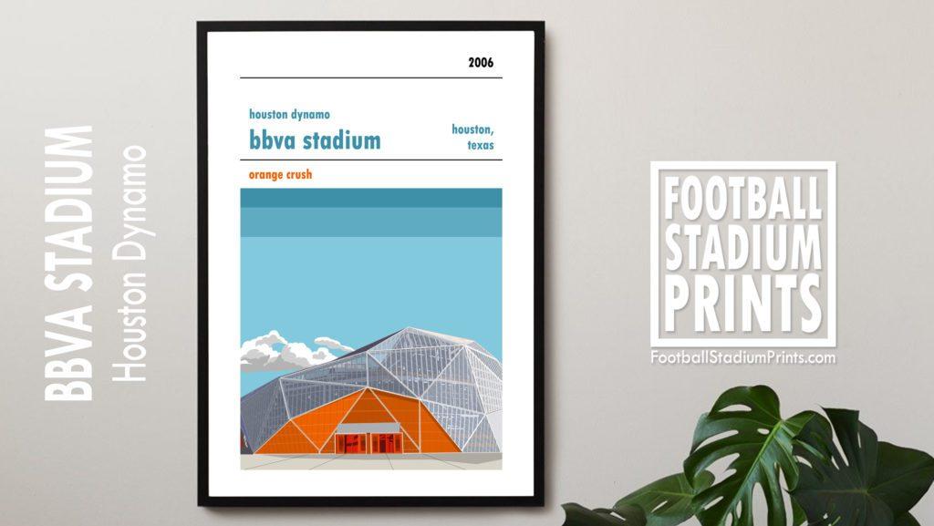 Framed soccer poster of Houston Dynamo and the BBVA Stadium