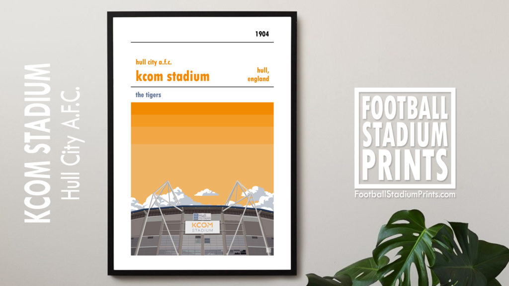 Framed Football poster of Hull City AFC and KCOM Stadium