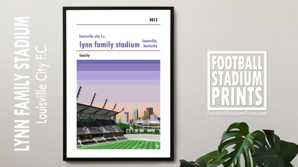 Framed Football print of Louisville City Fc and the Lynn Family Stadium, Kentucky
