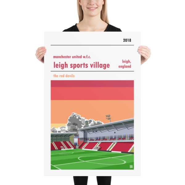 Huge football poster of Manchester United WFC and Leigh Sports Village