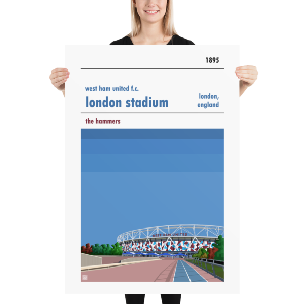 Massive football poster of London Stadium and West Ham United FC