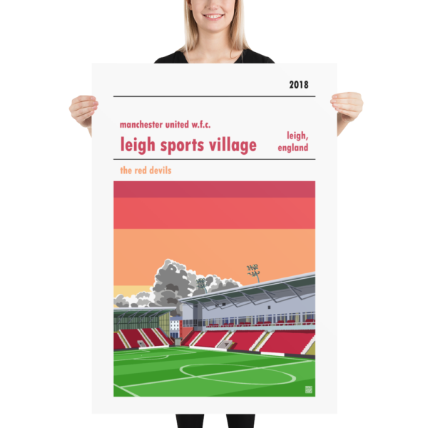 Massive football poster of Manchester United WFC and Leigh Sports Village