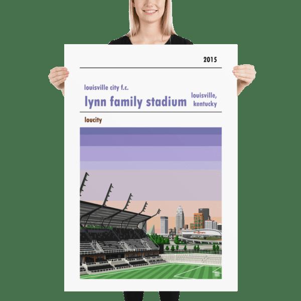 Massive football poster of Louisville City FC and Lynn Family Stadium