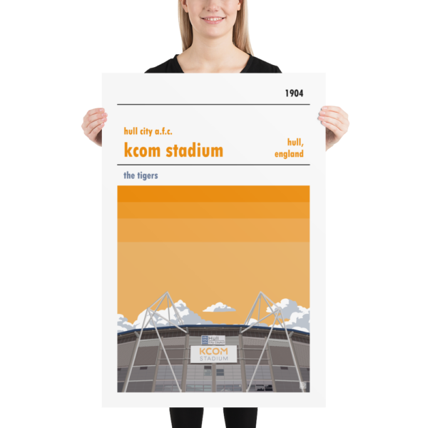 Huge football poster of Hull City AFC and KCOM Stadium
