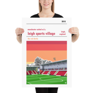 Large football poster of Manchester United WFC and Leigh Sports Village