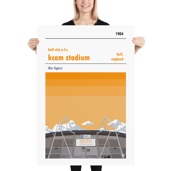 Massive football poster of Hull City AFC and KCOM Stadium