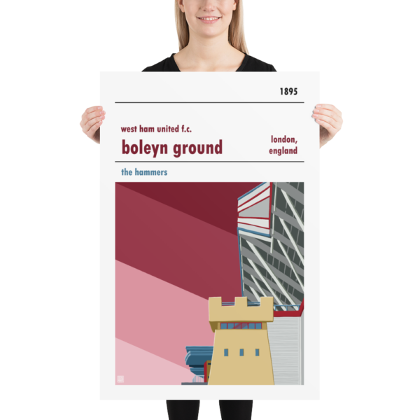 Huge football poster of the Boleyn Ground and West Ham United FC