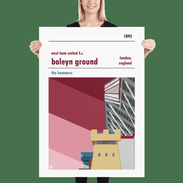 Massive football poster of the Boleyn Ground and West Ham United FC