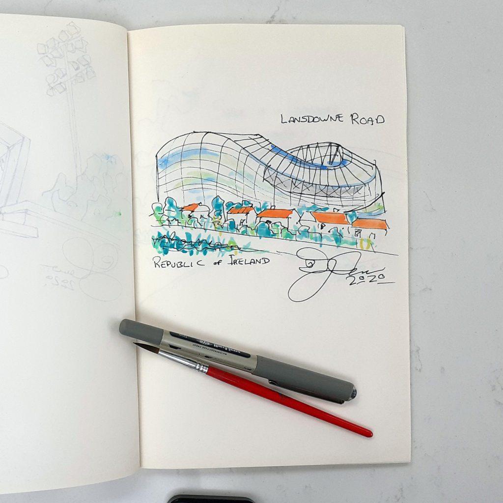 Lansdowne Road sketch by Steve Stewart